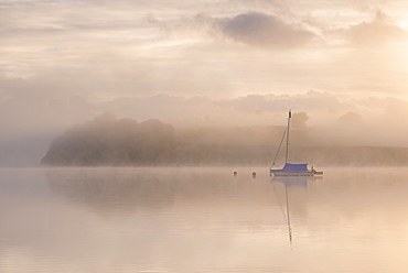 Sailing boat moored on a misty Wimbleball Lake at dawn, Exmoor National Park, Somerset, England, United Kingdom, Europe