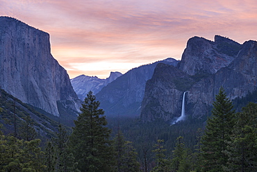 Yosemite Valley, with El Capitan and Bridal Veil Falls beneath a beautiful pink dawn sky, Yosemite National Park, UNESCO World Heritage Site, California, United States of America, North America