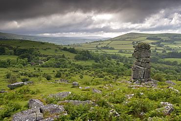 Moody sky over Bowerman's Nose in Dartmoor National Park, Devon, England, United Kingdom, Europe