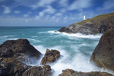 Trevose Head lighthouse on the north coast of Cornwall, England, United Kingdom, Europe