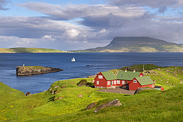 Colourful Faroese cottages in Hoyvik on the island of Streymoy, Faroe Islands, Denmark, Europe