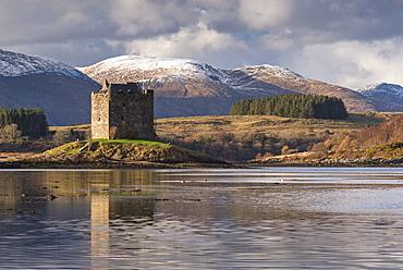 The 14th century Castle Stalker on an island in Loch Linnhe in winter, Appin, Scotland, United Kingdom, Europe