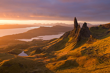 Glorious rich morning sunlight at the Old Man of Storr on the Isle of Skye, Inner Hebrides, Scotland, United Kingdom, Europe