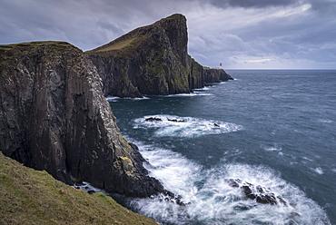 Dramatic cliffs near Neist Point Lighthouse on the west coast of the Isle of Skye, Inner Hebrides, Scotland, United Kingdom, Europe