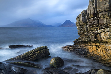 The Cuillin Mountains from the rocky shores of Elgol, Isle of Skye, Inner Hebrides, Scotland, United Kingdom, Europe