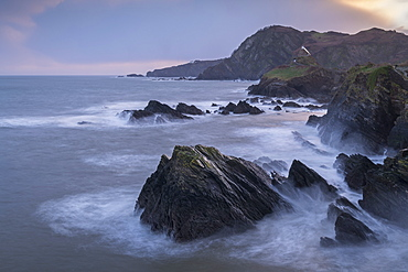 St. Nicholas Chapel on the rugged cliffs of Ilfracombe at dawn in winter, North Devon, England, United Kingdom, Europe