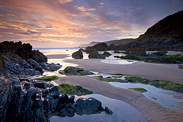 Combesgate Beach on the North Devon coast, Woollacombe, Devon, England, United Kingdom, Europe
