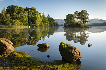 Beautiful morning on a reflection Derwent Water in the Lake District National Park, UNESCO World Heritage Site, Cumbria, England, United Kingdom, Europe