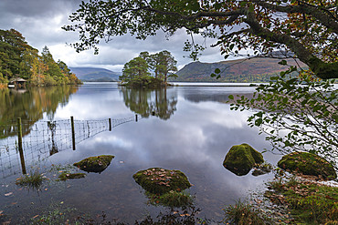 Early morning on the shores of Derwent Water in the Lake District National Park, UNESCO World Heritage Site, Cumbria, England, United Kingdom, Europe