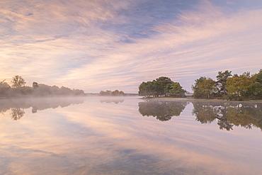 Hatchet Pond reflecting a beautiful pink misty sunrise, Beaulieu, New Forest, England, United Kingdom, Europe