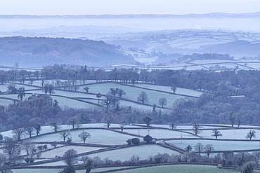 Frosty rolling countryside near Sourton, Devon, England, United Kingdom, Europe