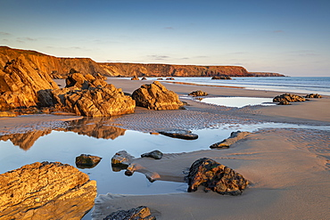 Late evening sunlight on a deserted Marloes Sands, Pembrokeshire, Wales, United Kingdom, Europe