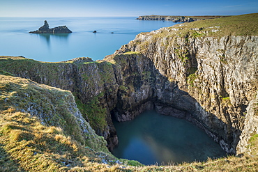 Spectacular cliff top scenery on the Pembrokeshire Coast National Park, Bosherton, Pembrokeshire, Wales, United Kingdom, Europe