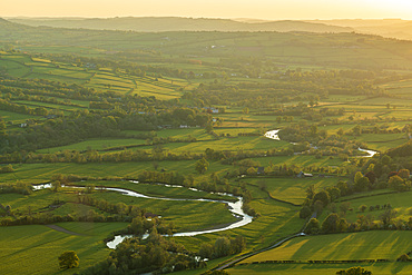 The River Usk meandering through rolling countryside, Brecon Beacons, Powys, Wales, United Kingdom, Europe