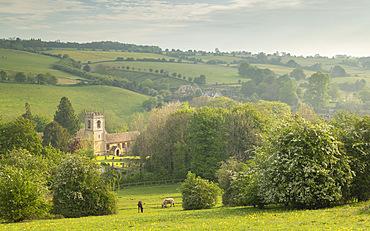 Rural church in beautiful Cotswolds countryside, Naunton, Gloucestershire, England, United Kingdom, Europe