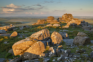 First light on the granite boulders of Roughtor in Bodmin Moor, Cornwall, England, United Kingdom, Europe