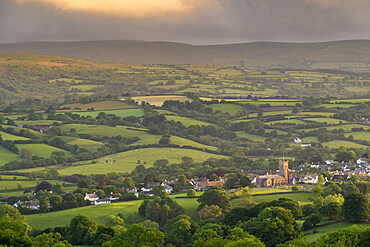 Parish Church surrounded by rolling countryside, Moretonhampstead, Dartmoor, Devon, England, United Kingdom, Europe