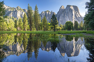 Cathedral Rocks reflected in floodpools, Yosemite Valley, UNESCO World Heritage Site, California, United States of America, North America
