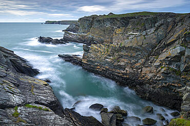 Dramatic cliffs on Anglesey's north west coast, Anglesey, North Wales, United Kingdom, Europe
