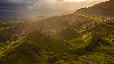 Sunrise over the Llangattock Escarpment in the Brecon Beacons National Park, Powys, Wales, United Kingdom, Europe