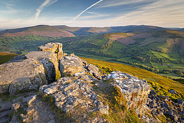 Vista from the summit of the Sugarloaf, Brecon Beacons National Park, Monmouthshire, Wales, United Kingdom, Europe