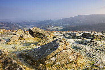 Frost covered rocks on Hound Tor Down in winter, Dartmoor National Park, Devon, England, United Kingdom, Europe