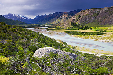 Braided river valley at El Chalten in Los Glaciares National Park, Patagonia, Argentina, South America