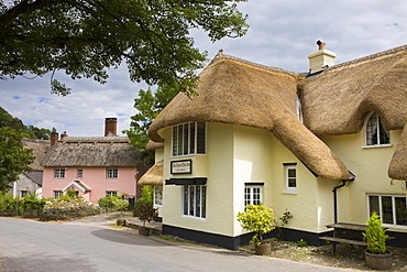 The Royal Oak Inn and village of Winsford, Exmoor National Park, Somerset, England, United Kingdom, Europe