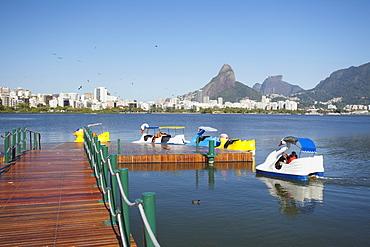 Pedalos on Lagoa Rodrigo de Freitas, Rio de Janeiro, Brazil, South America