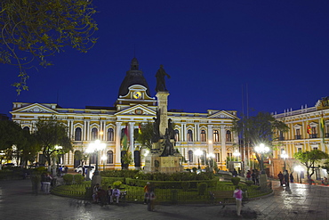 Palacio Legislativo (Legislative Palace) in Plaza Pedro Murillo at dusk, La Paz, Bolivia, South America