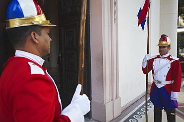 Soldiers standing guard outside Panteon de los Heroes, Asuncion, Paraguay, South America