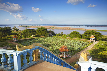 View of Mekong River from Wat Han Chey, Kampong Cham, Cambodia, Indochina, Southeast Asia, Asia