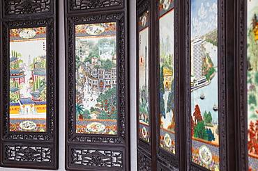Decorative screens at Chen Clan Academy, Guangzhou, Guangdong, China, Asia