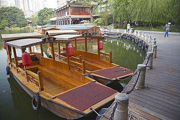Wooden boats at Liwan Park, Guangzhou, Guangdong, China, Asia