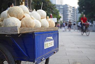 Coconut juice stall, Guangzhou, Guangdong, China, Asia