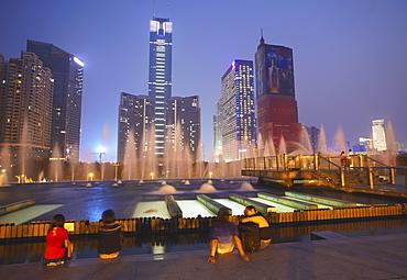 CITIC Plaza at dusk, Tianhe, Guangzhou, Guangdong, China, Asia