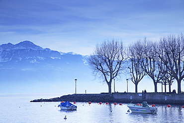 Harbour on Lake Leman (Lake Geneva), Ouchy, Lausanne, Vaud, Switzerland, Europe