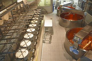 Cheese making equipment inside La Maison du Gruyere, Gruyeres, Fribourg, Switzerland, Europe