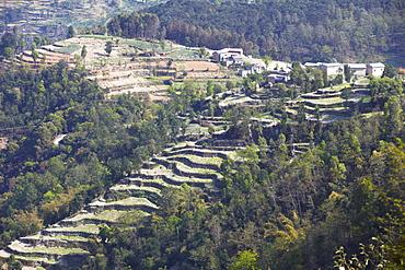 Hillside village and terraced fields, Dhulikhel, Kathmandu Valley, Nepal, Asia