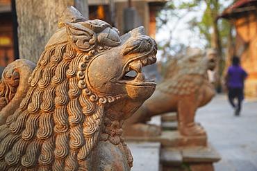 Lion statues outside Gorakhnath Temple at Pashupatinath Temple, UNESCO World Heritage Site, Kathmandu, Nepal, Asia