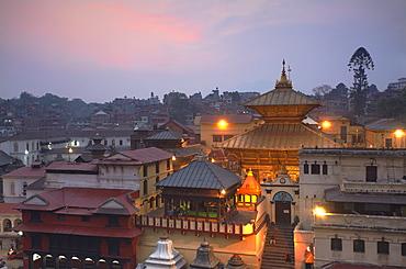 Pashupatinath Temple at dusk, UNESCO World Heritage Site, Kathmandu, Nepal, Asia