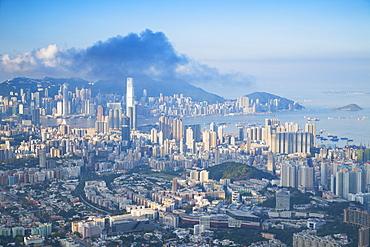 View of Kowloon and Hong Kong Island at dawn, Hong Kong, China, Asia
