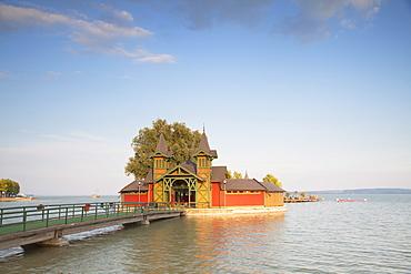 Pier on Keszthely beach, Keszthely, Lake Balaton, Hungary, Europe