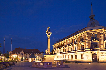 Trinity Column and high school in Main Square, Keszthely, Lake Balaton, Hungary, Europe
