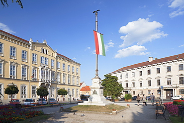Flag of Loyalty in Szechenyi Square, Sopron, Western Transdanubia, Hungary, Europe