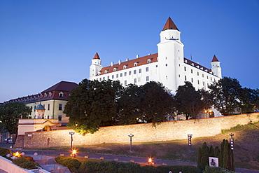 Bratislava Castle at dusk, Bratislava, Slovakia, Europe