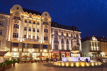 Hlavne Nam (Main Square) at dusk, Bratislava, Slovakia, Europe