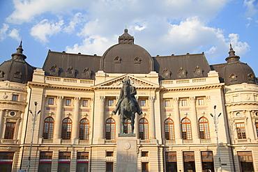Statue of King Carol outside Central University Library, Piata Revolutiei, Bucharest, Romania, Europe