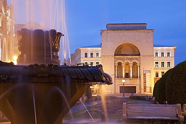 National Theatre and Opera House in Piata Victoriei at dusk, Timisoara, Banat, Romania, Europe