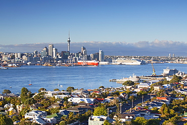 View of Devonport and Auckland skyline, Auckland, North Island, New Zealand, Pacific